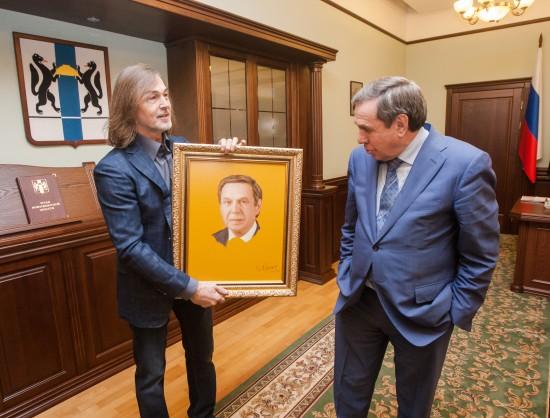 Никас Сафронов подарил губернатору Городецкому портрет своего авторства